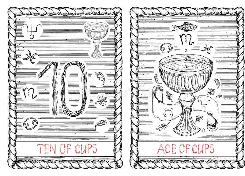 杯子十倍和一点  占卜用的纸牌 库存例证