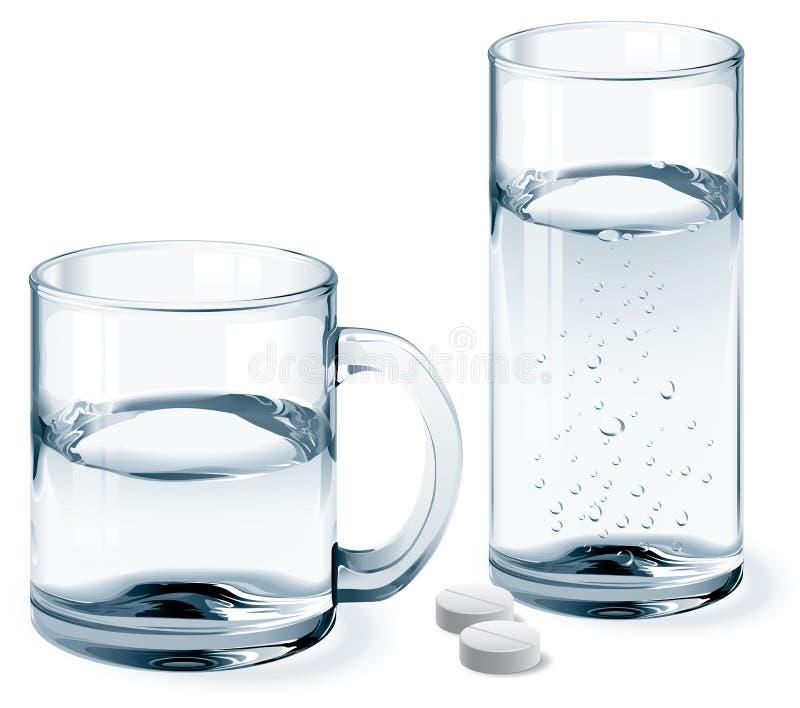 杯子和杯水 向量例证