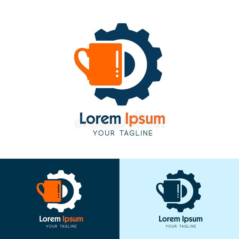杯子咖啡具商标设计模板,与咖啡杯和齿轮概念传染媒介设计 向量例证