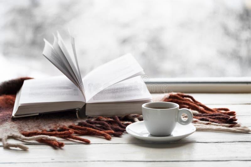 杯子咖啡和被打开的书与温暖的格子花呢披肩在白色窗台反对雪风景从外面 免版税库存图片