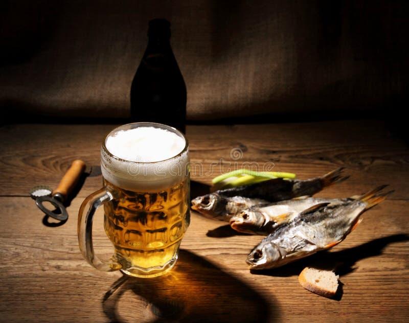 杯子啤酒和干rudd 免版税库存照片