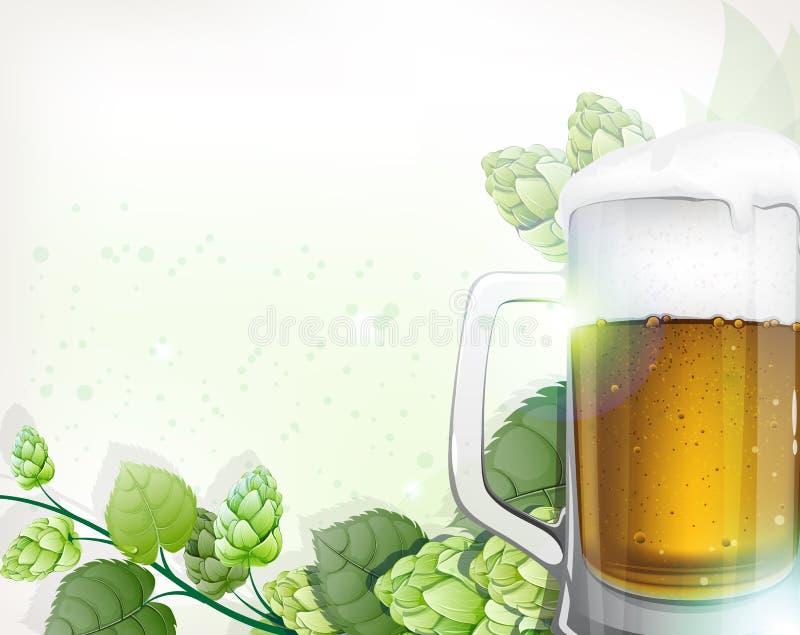 杯子啤酒和蛇麻草分支 向量例证