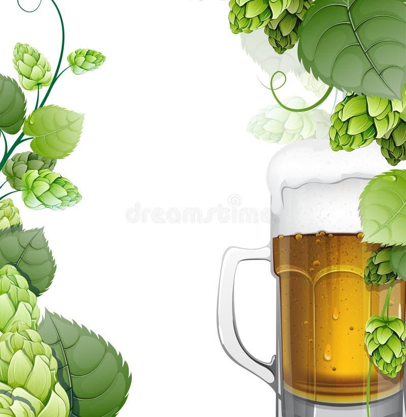 杯子啤酒用在白色的蛇麻草 向量例证