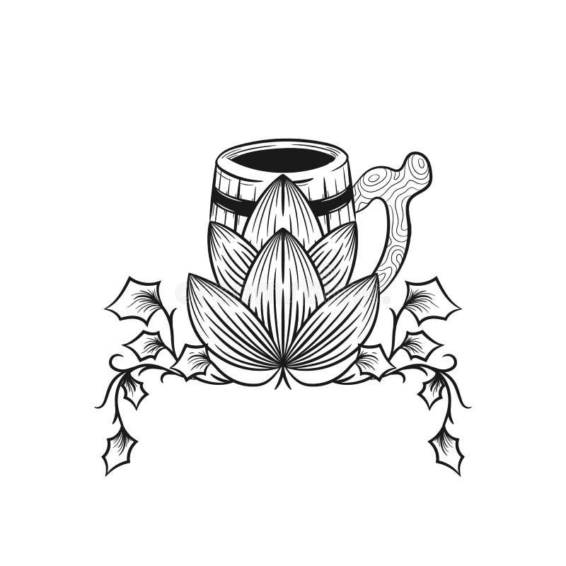 杯子啤酒用蛇麻草 啤酒花球果树 库存例证