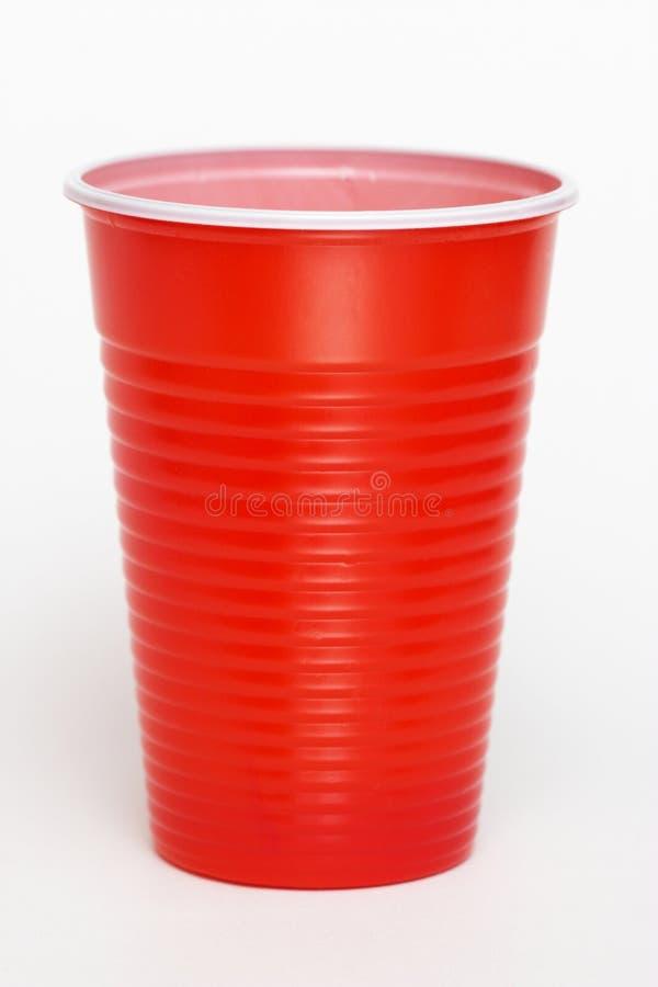 杯子塑料红色 免版税库存照片