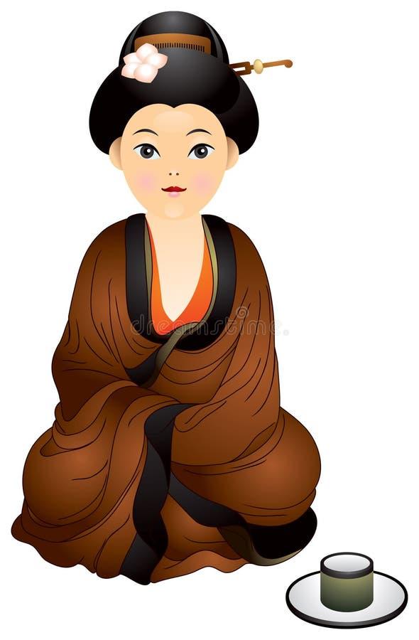 杯子女孩日本最近的坐的茶 向量例证