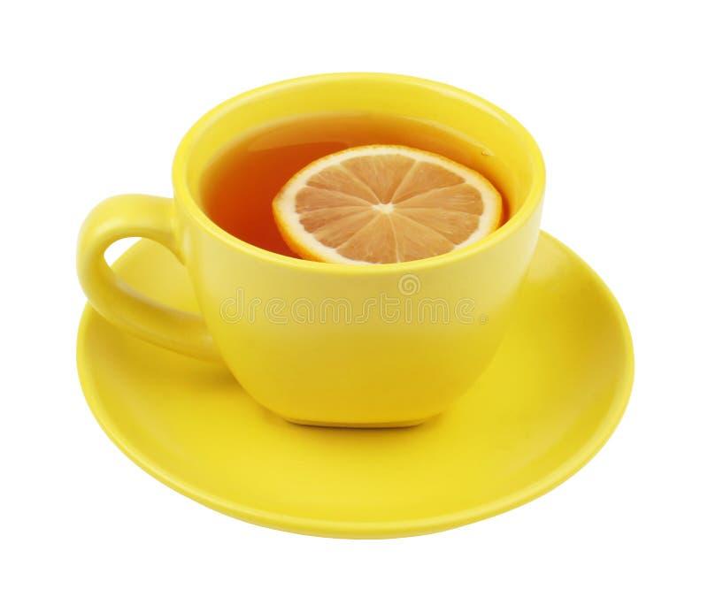 杯子柠檬茶黄色 库存图片