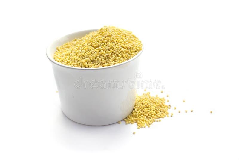 杯子查出的小米种子白色 免版税库存照片