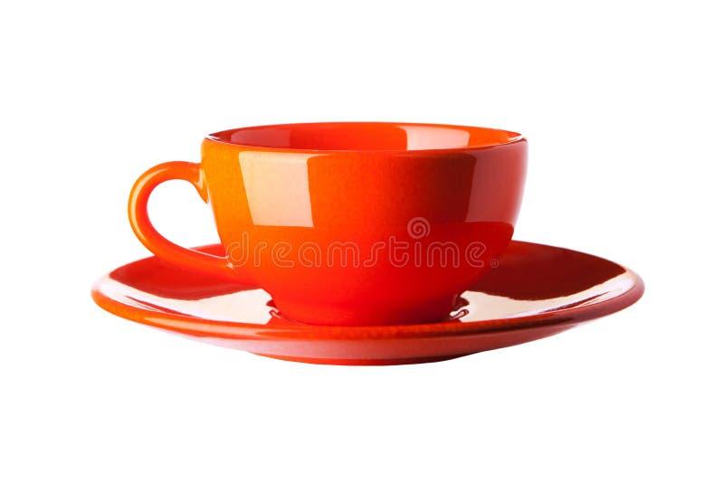 杯子查出的橙色白色 库存照片