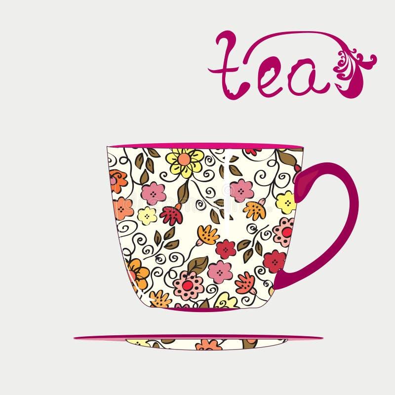 杯子模式茶 库存例证