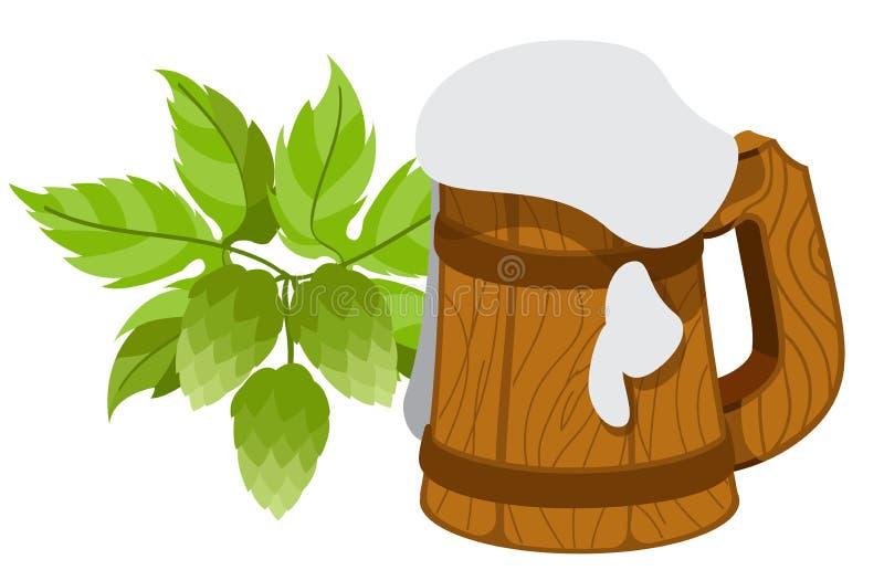 杯子泡沫似的啤酒,蛇麻草分支 库存例证