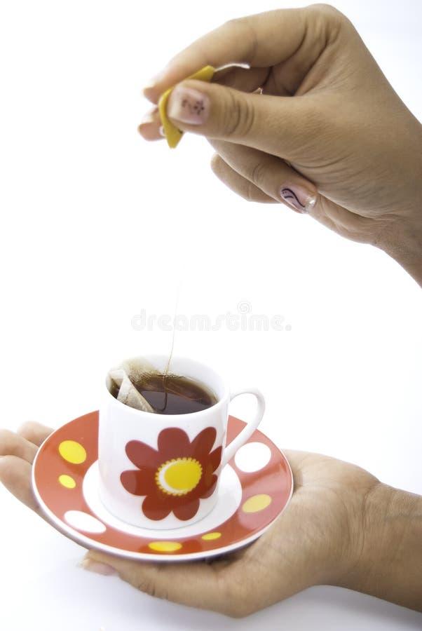 杯子现有量拿着红色茶 免版税库存照片