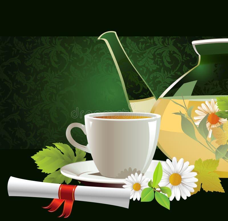 杯子玻璃茶茶壶 皇族释放例证