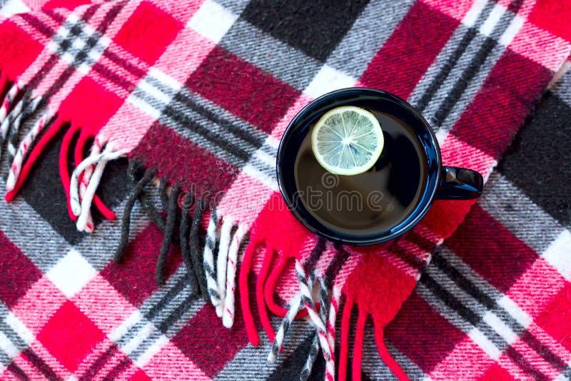 黑杯子用站立在温暖的红色方格的格子花呢披肩的茶和柠檬 库存照片