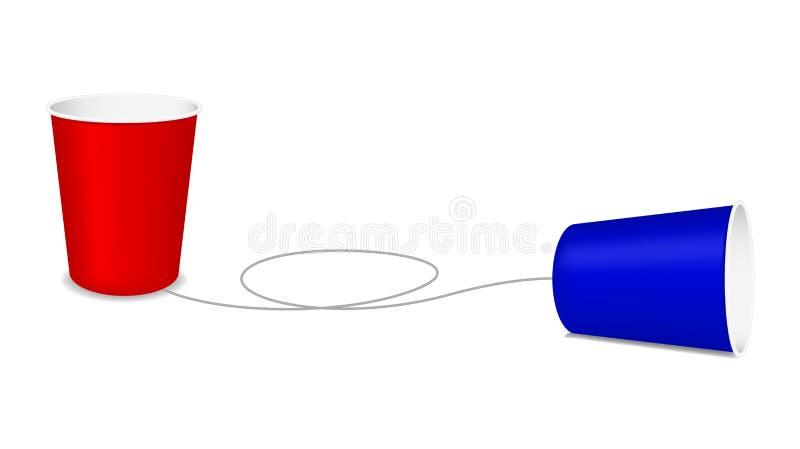 杯子电话塑料 库存例证