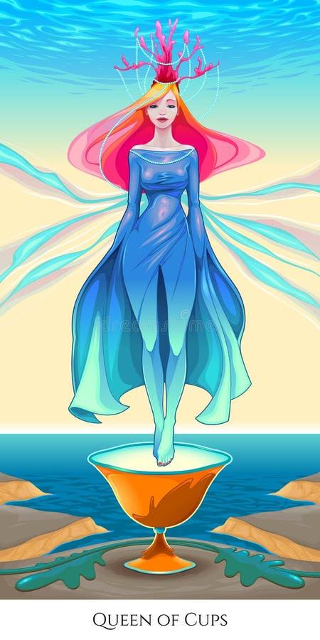杯子的女王/王后,占卜用的纸牌 皇族释放例证