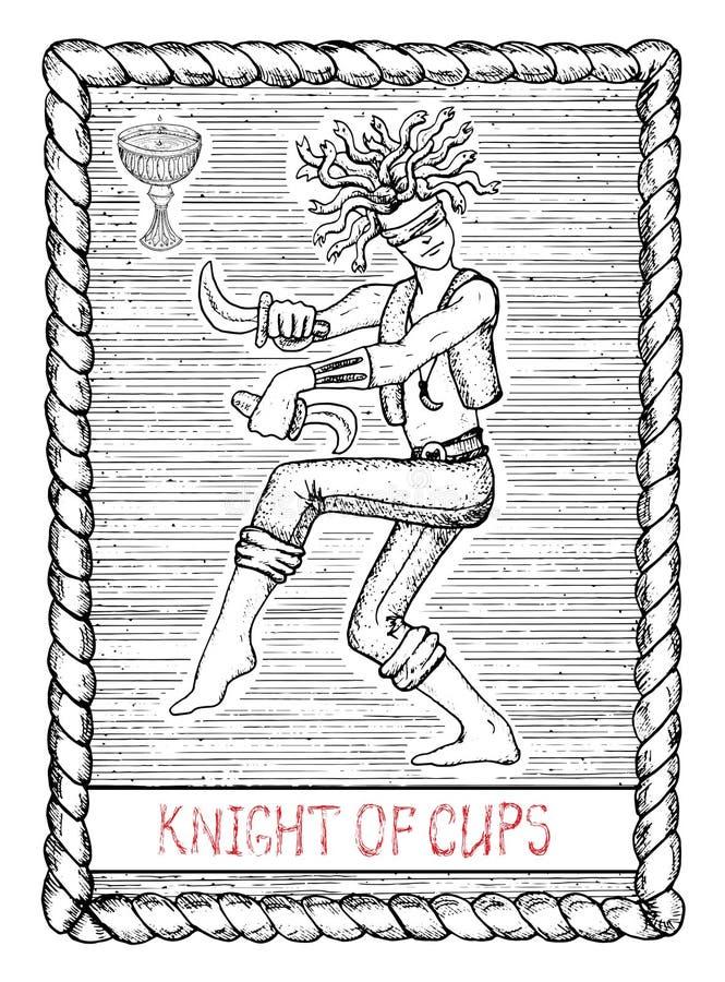 杯子的骑士 占卜用的纸牌 皇族释放例证