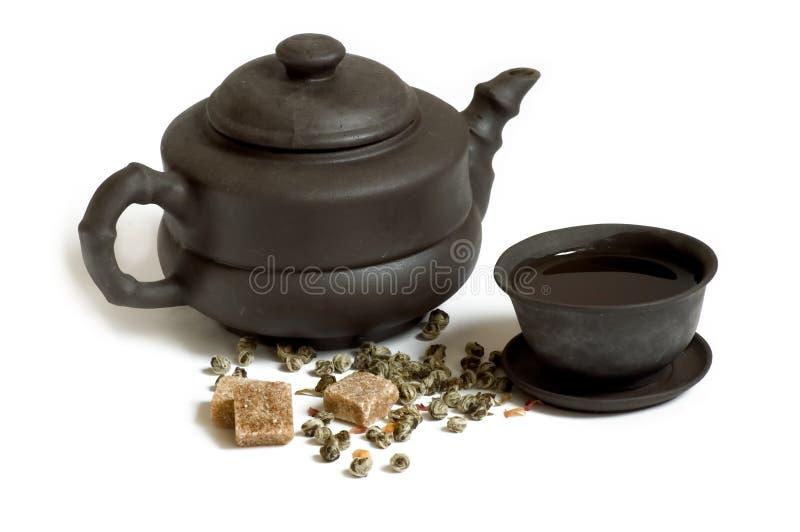 杯子糖茶茶壶 免版税库存图片