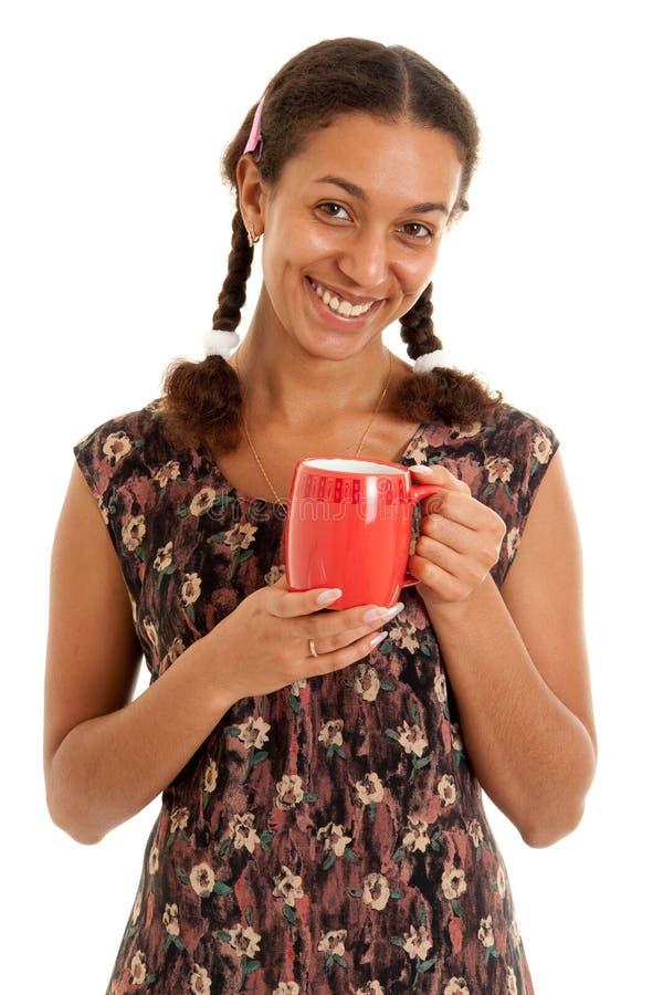 杯子红色微笑的妇女 库存照片