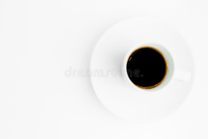 杯子顶视图与空间的无奶咖啡文本的 库存图片