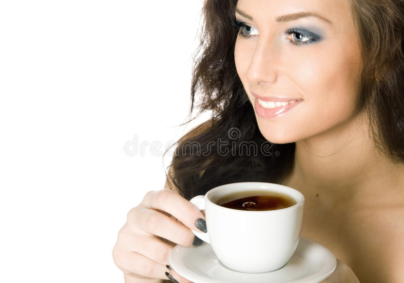 杯子饮料热妇女年轻人 免版税库存图片