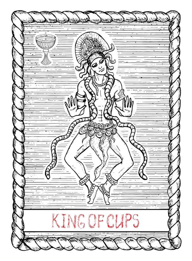杯子Knig  占卜用的纸牌 皇族释放例证
