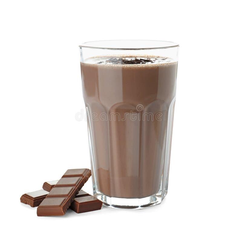 杯巧克力蛋白质震动和成份 库存图片