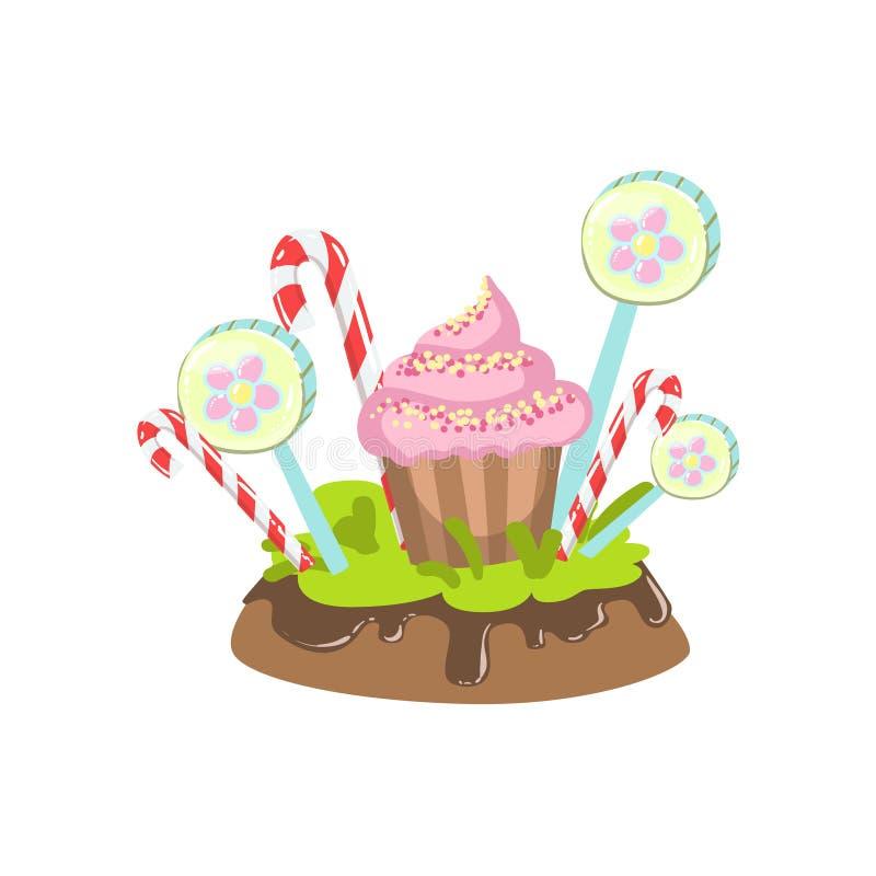 杯形蛋糕、硬糖棍子和Lollypop植被幻想糖果土地甜风景元素 向量例证