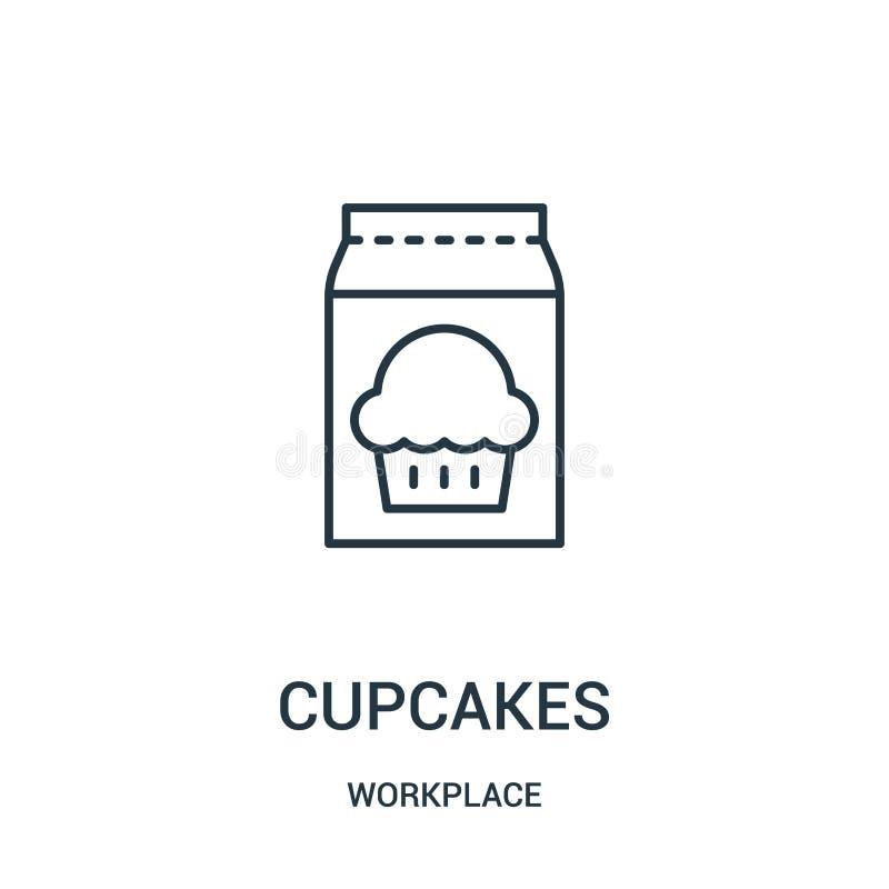 杯形蛋糕从工作场所汇集的象传染媒介 稀薄的线杯形蛋糕概述象传染媒介例证 皇族释放例证