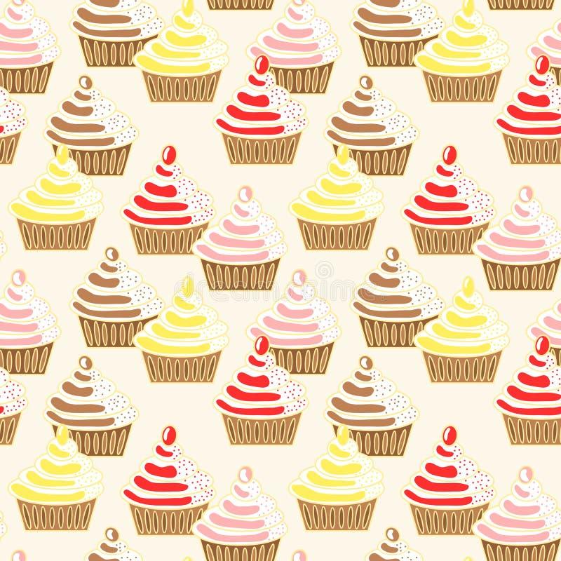 杯形蛋糕冰了模式无缝的顶部 库存例证