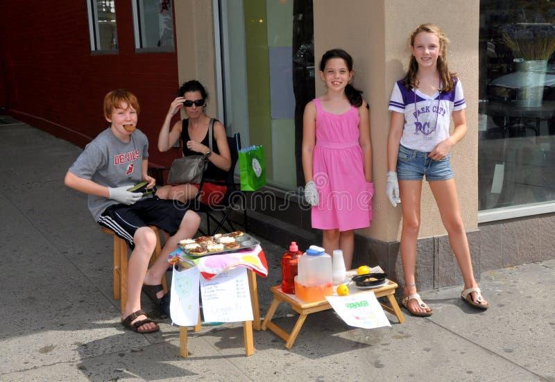 杯形蛋糕出售年轻人的柠檬水nyc 免版税图库摄影