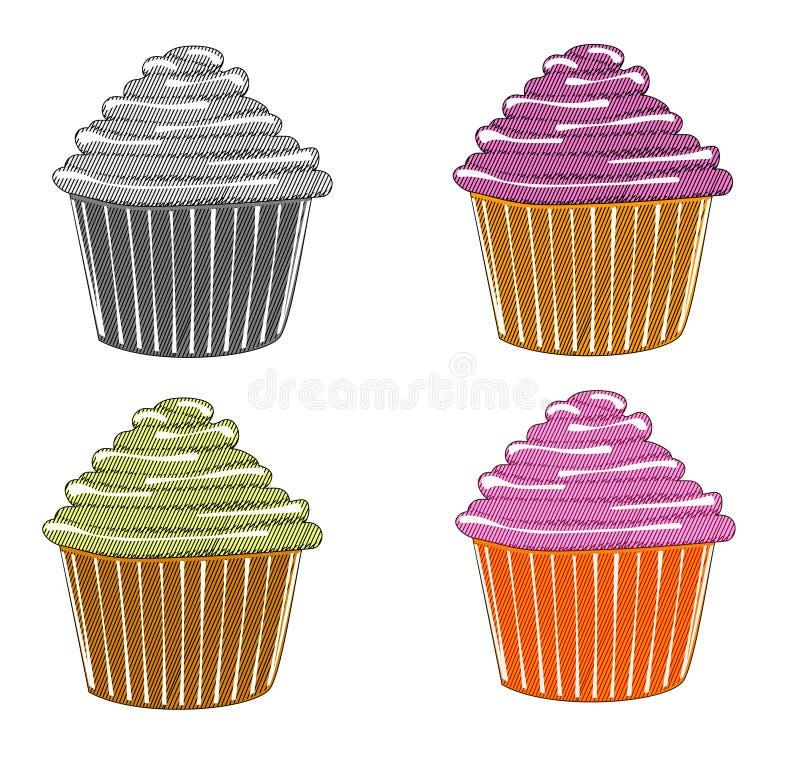 杯形蛋糕剪影  向量例证