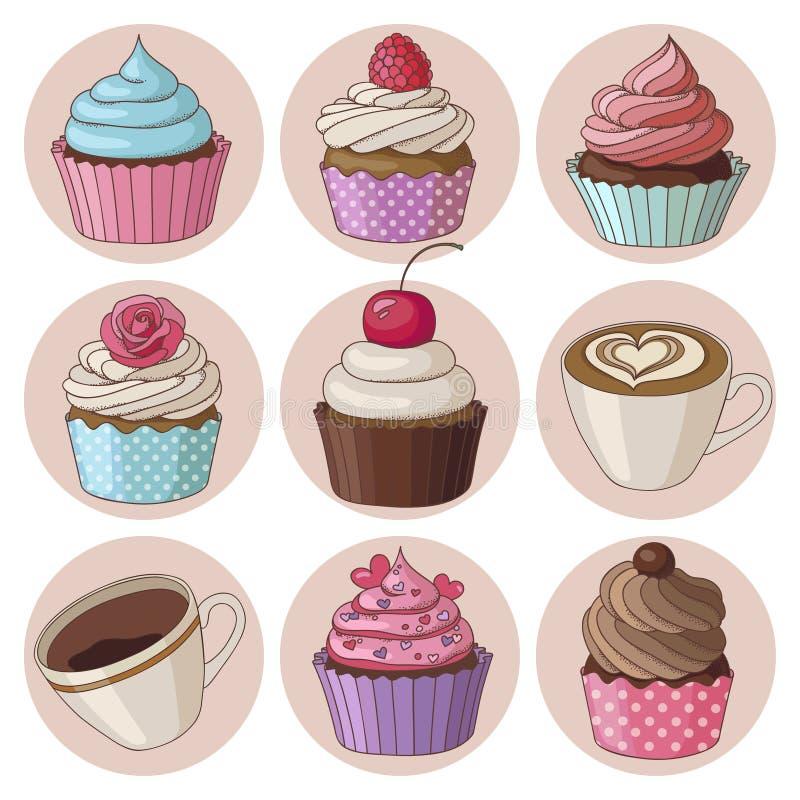 杯形蛋糕和咖啡被隔绝的集合 向量例证