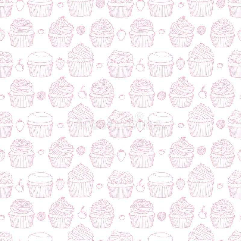杯形蛋糕和果子6个样式任意在白色背景 皇族释放例证