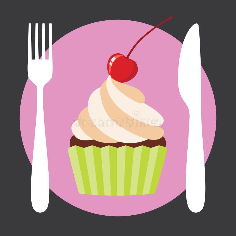 杯形蛋糕咖啡馆商标 向量例证