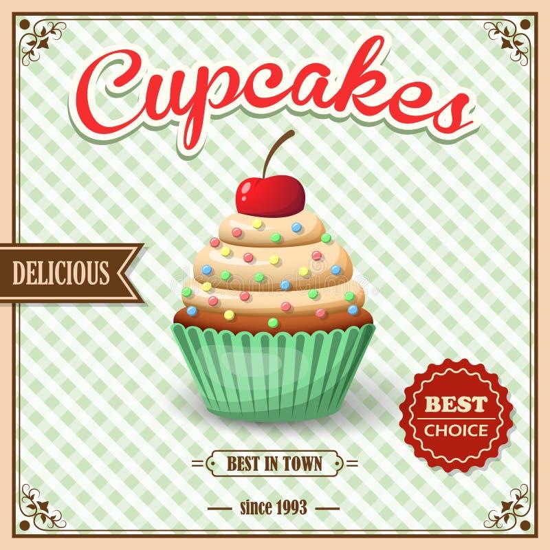 杯形蛋糕咖啡馆海报 皇族释放例证