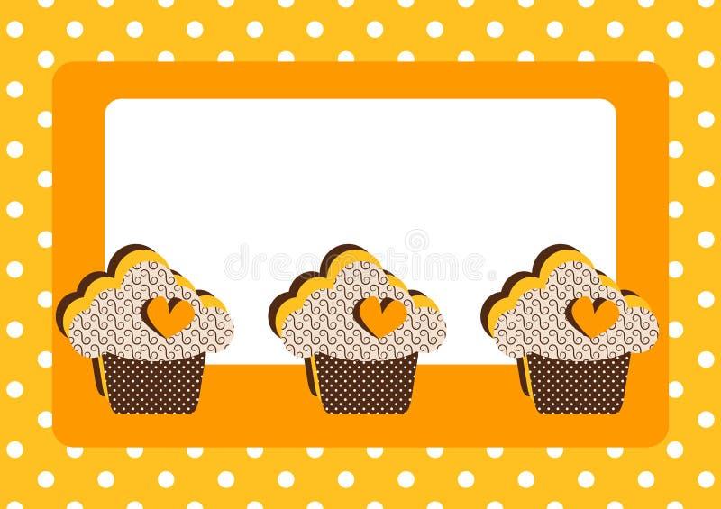 杯形蛋糕圆点花样的布料边界框架看板卡 库存例证