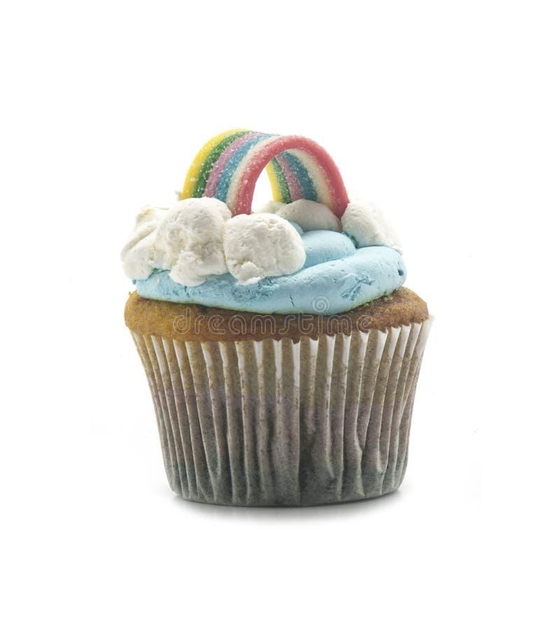 杯形蛋糕在白色背景中 免版税图库摄影