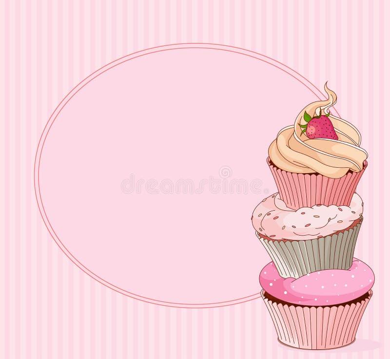 杯形蛋糕地方卡片 库存例证