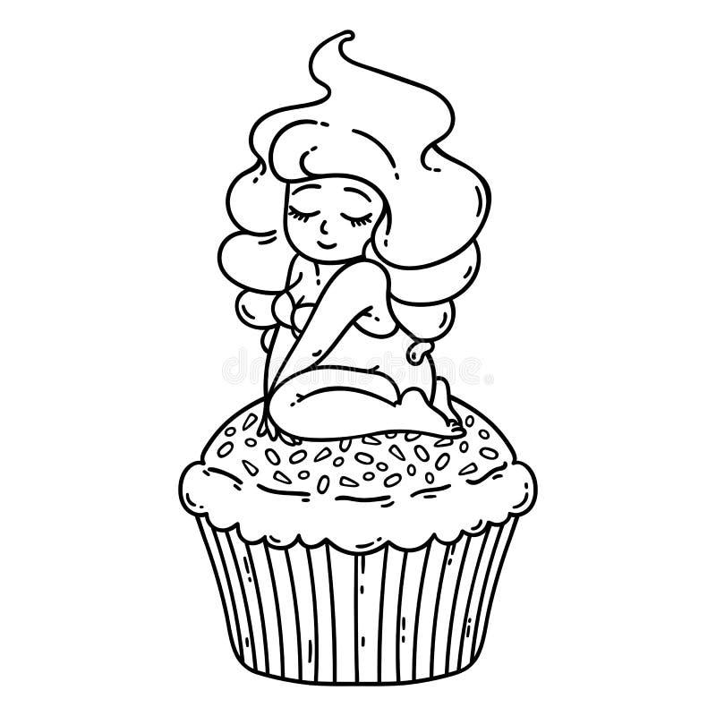 杯形蛋糕奶油色神仙 杯形蛋糕的逗人喜爱的女孩 在空白背景的查出的对象 也corel凹道例证向量 着色概述 库存例证