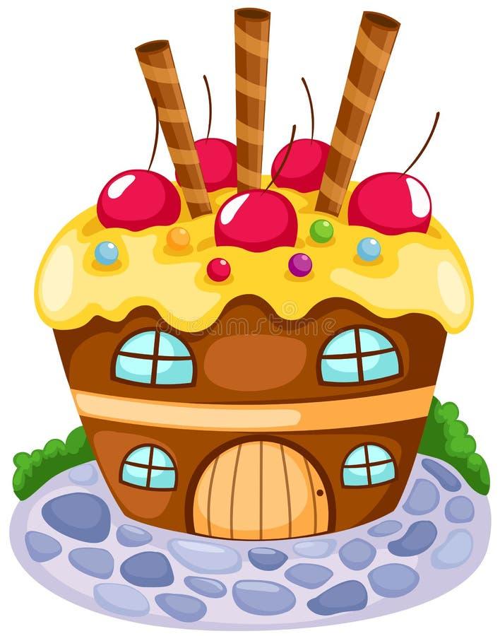 杯形蛋糕房子 皇族释放例证