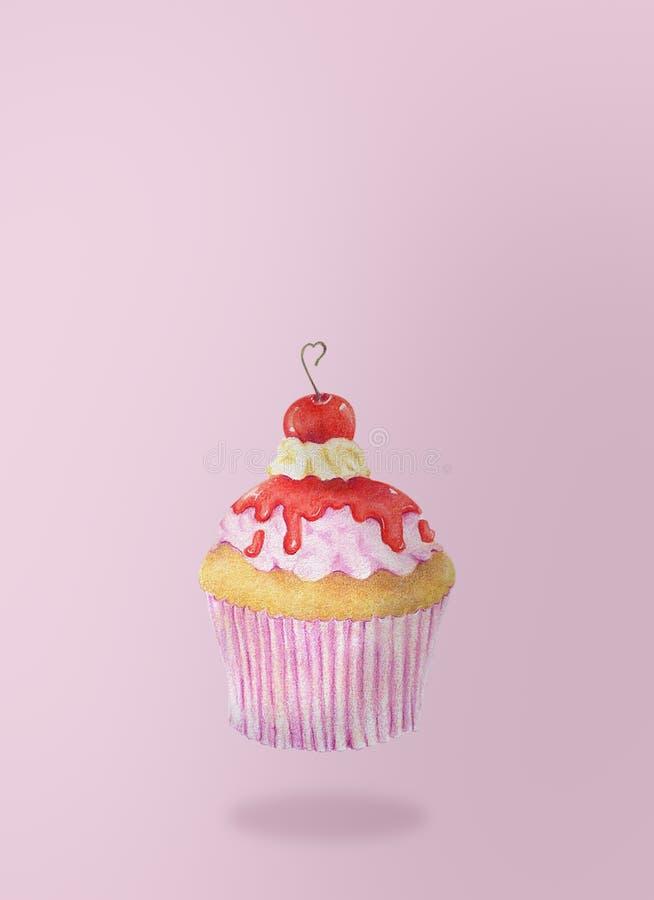 杯形蛋糕手拉的水彩在桃红色背景飞行 库存例证