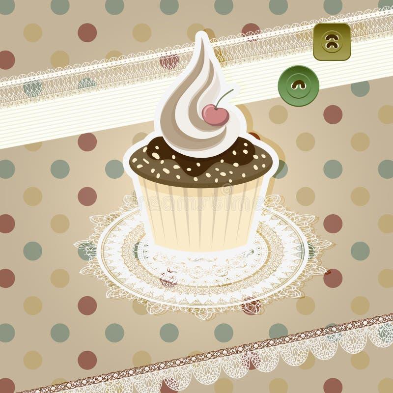 杯形蛋糕模式葡萄酒 向量例证