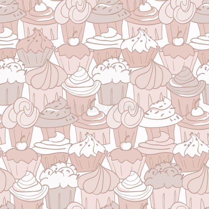 杯形蛋糕模式 向量例证