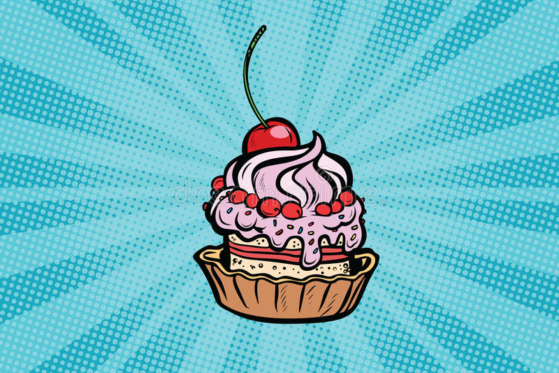 杯形蛋糕点心用樱桃和奶油 向量例证