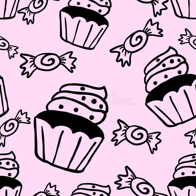 杯形蛋糕甜点无缝的乱画传染媒介样式 向量例证