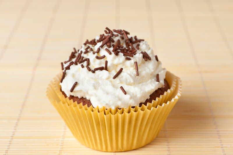 杯形蛋糕用巧克力洒 免版税库存图片