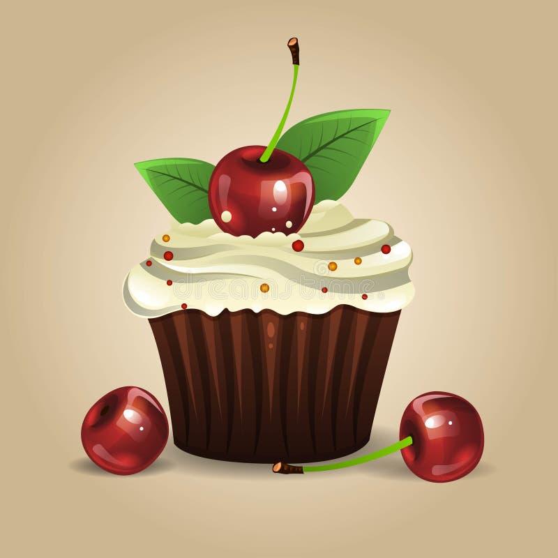 杯形蛋糕用樱桃 库存例证