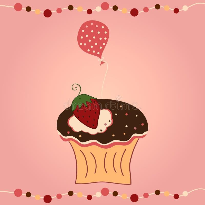 杯形蛋糕用草莓和气球 向量例证