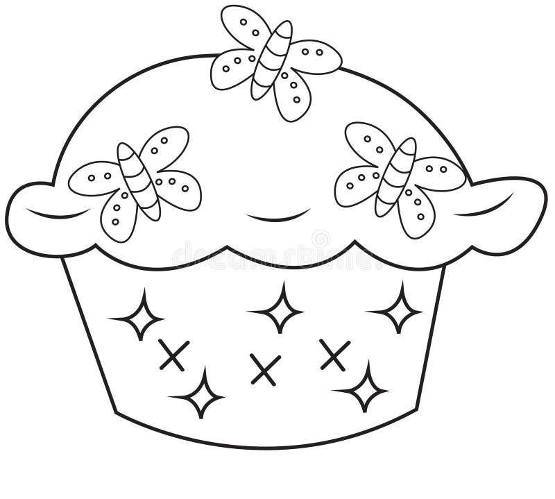 杯形蛋糕着色页 皇族释放例证